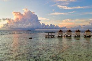 Maldives resort aerial drone photography
