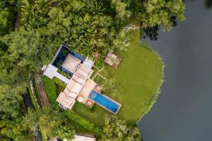 pool villa the banyan tree aerial drone photography