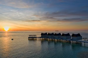 Maldives sunset aerial photography Movenpick kuredivaru resort