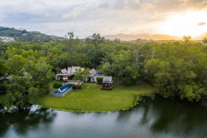 the banyan tree sunrise aerial photography double pool villa